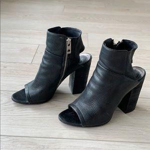Super comfortable black ankle bootie heels